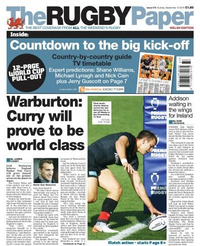 The Rugby Paper -Welsh newspaper cover
