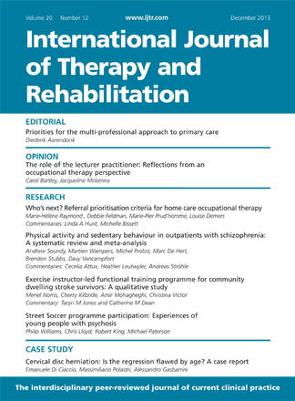 International Journal of Therapy and Rehabilitation magazine cover