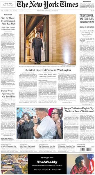 The New York Times International Edition newspaper cover