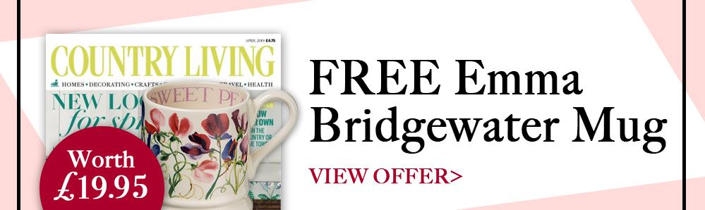 Country Living Magazine Subscription. Free Emma Bridgewater mug (worth £19.95)
