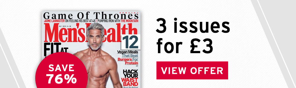 Men's Health magazine subscription. 3 issues for £3. Save 76%