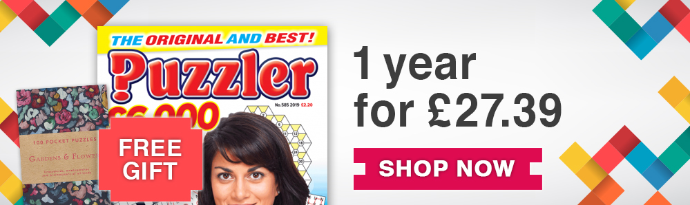Puzzler Magazine Subscription. 1 year for £27.39. Free Gift