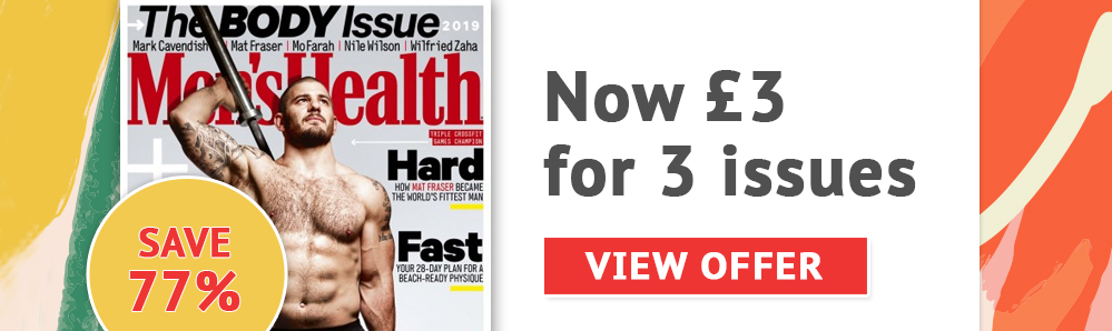 Men's Health magazine subscription. 3 issues for £3. Save 77%