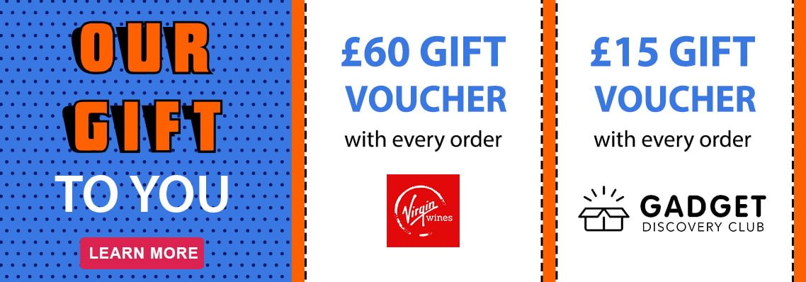 Bonus vouchers for Virgin Wines and Gadget Discovery Club with your order