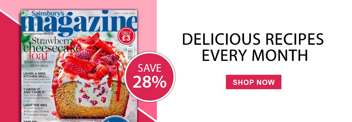 sainsburys magazine, delicious recipes, save 28%